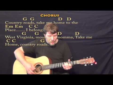 Country Roads (John Denver) Strum Guitar Cover Lesson with Lyrics/Chords