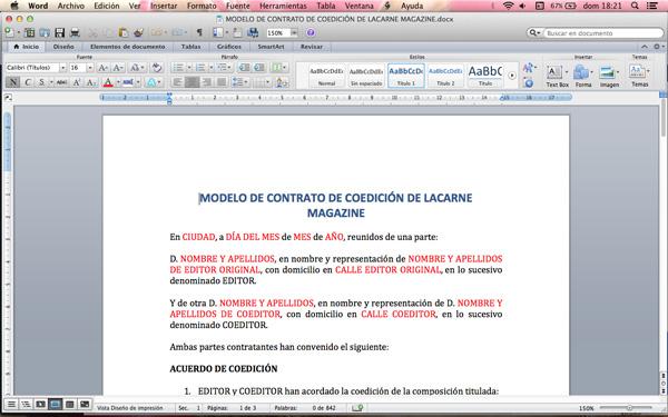 Plantilla De Contrato De Coedici 243 N Para M 250 Sicos Lacarne
